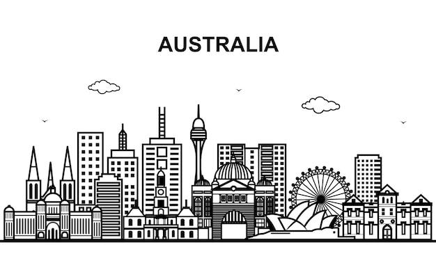 Ville en australie paysage urbain ligne contour