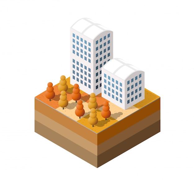 Ville automnale isométrique
