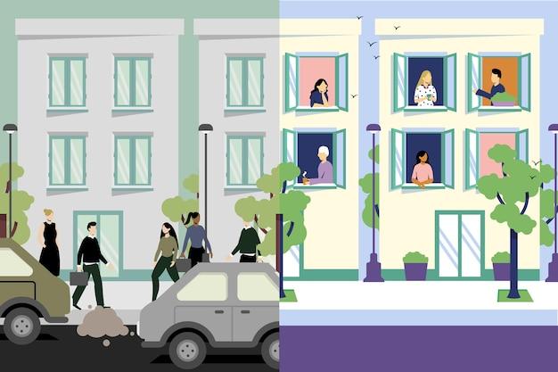 Ville avant et après covid19