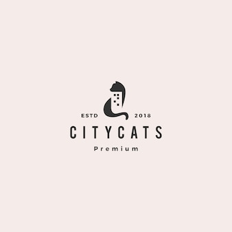 Ville de chat construction maison icône logo vector illustration
