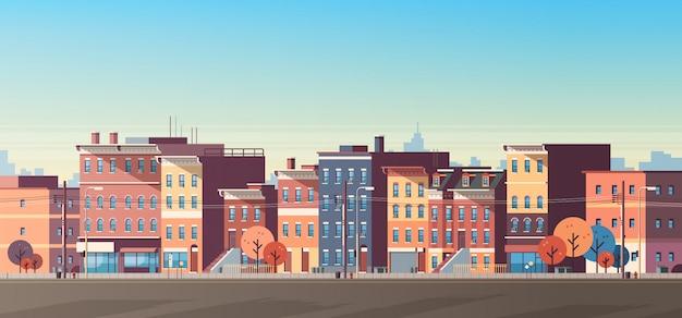 Ville, construction, maisons, vue, horizon, bannière