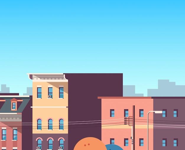 Ville, construction, maisons, vue, paysage urbain, fond