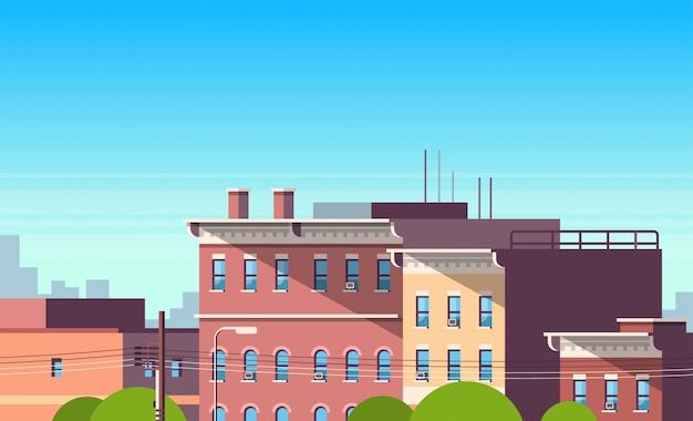 Ville, construction, maisons, vue, paysage urbain, immobilier, joli, ville, concept