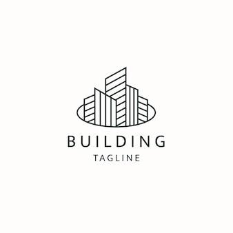 Ville de construction avec le modèle de conception d'icône de logo de style de ligne vecteur plat