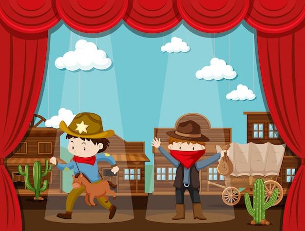Ville de cowboy sur scène avec deux enfants agissant