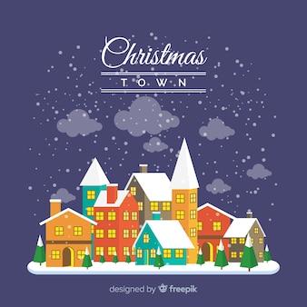 Ville de Noël au design plat