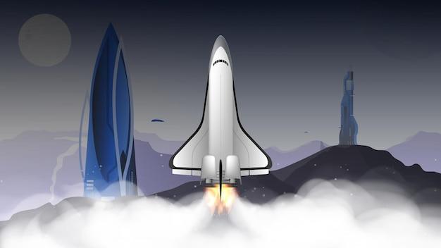 Ville du futur avec des bâtiments insolites. navette spatiale. le booster décolle.