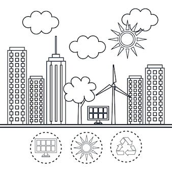 Ville éco amicale dessiné main avec panneau solaire et éolienne sur fond blanc. vecteur illustr
