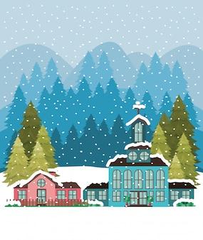 Ville avec église en paysage de neige