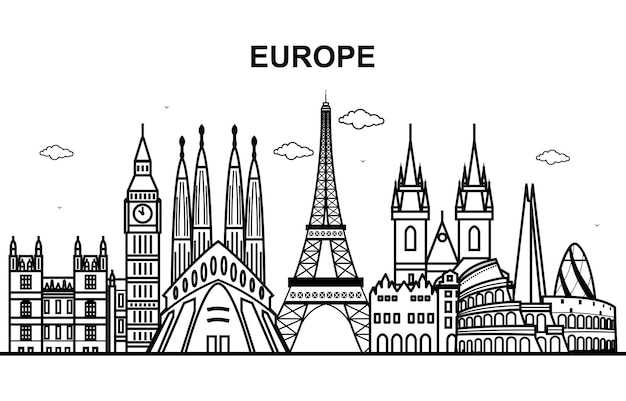 Ville en europe tournée cityscape skyline line outline