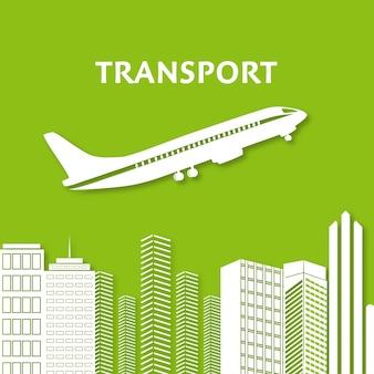 Ville, gratte-ciel, vue, paysage urbain, vol, avion, horizon, silhouette, infographie