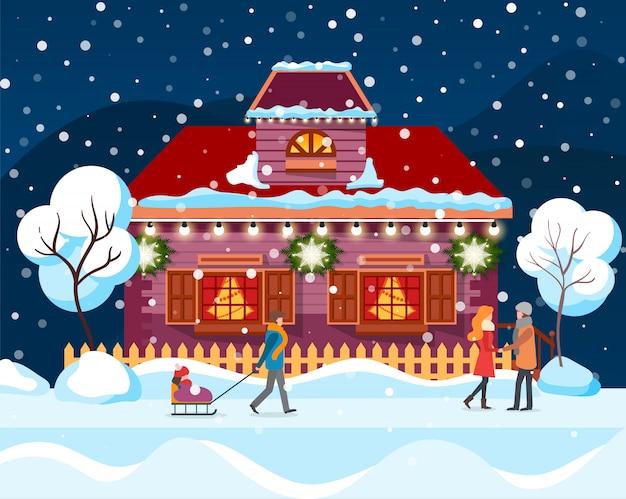 Ville d'hiver dans la neige