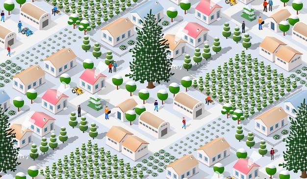 Ville d'hiver isométrique