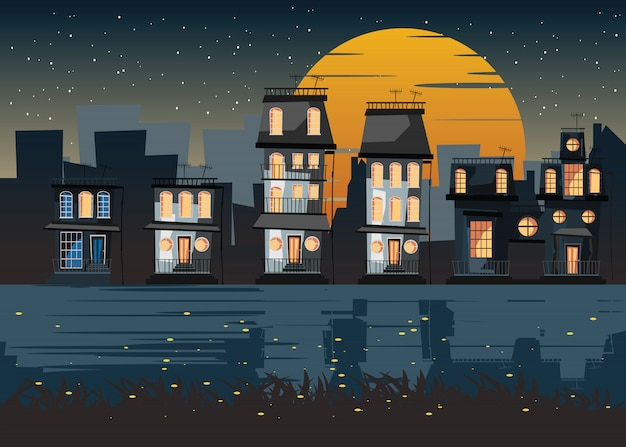 Ville à l'illustration vectorielle de nuit