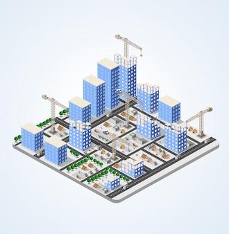 Ville de l'industrie de la construction de grue ville isométrique