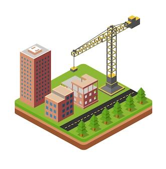 Ville industrielle avec grues et maisons de construction