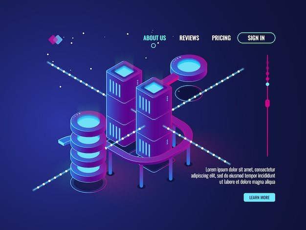 Ville intelligente, salle de serveur isométrique, icône de la base de données du centre de données, mise en réseau et traitement des données