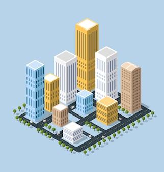 Ville isométrique 3d colorée