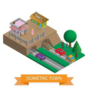 Ville isométrique 3d plat