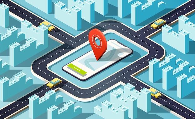 Ville isométrique avec des bâtiments, des routes, des voitures jaunes et une broche de localisation rouge.