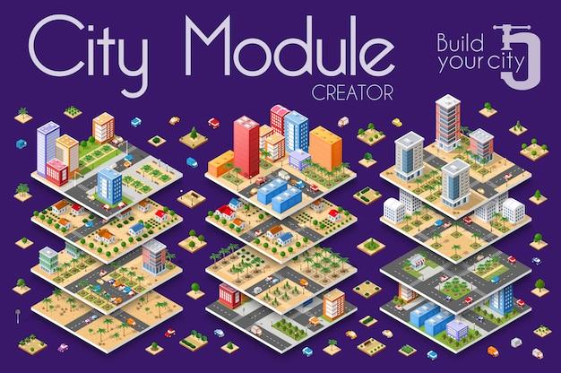 Ville isométrique avec des gratte-ciel