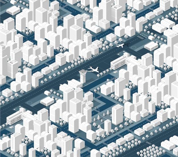 La ville isométrique avec gratte-ciel