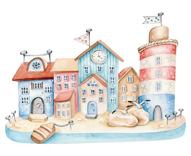 Ville de la mer. bâtiments au bord de la mer