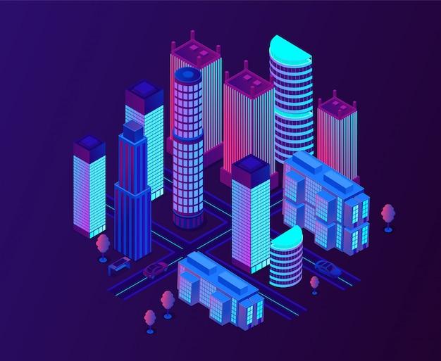 Ville de métropole futuriste avec des gratte-ciel rougeoyants au néon.