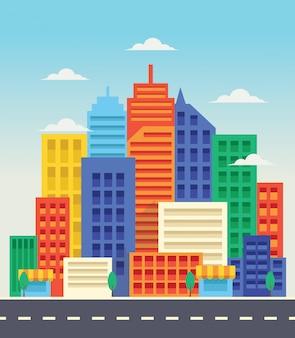 Ville moderne à l'arrière-plan de style design plat