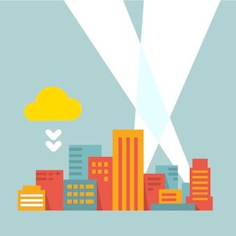Ville moderne dans les rayons de lumière, style plat