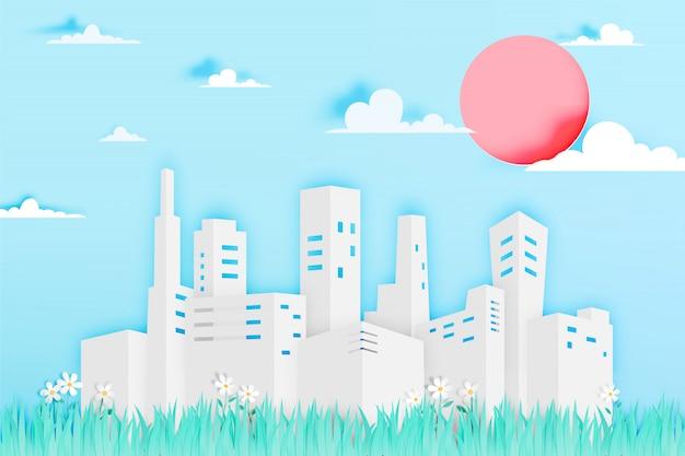 Ville moderne dans le style art papier avec illustration vectorielle champ de fleurs