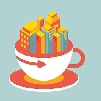 Ville moderne dans une tasse de café