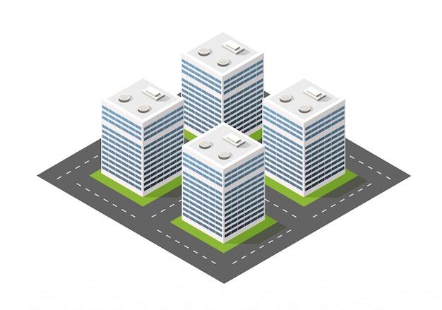 Ville de module isométrique de l'architecture du bâtiment urbain.