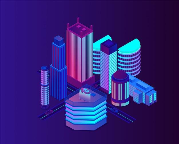 Ville néon à l'architecture moderne et futuriste.