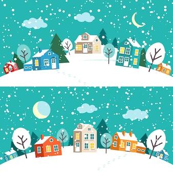 Ville de noël d'hiver. paysage de village enneigé