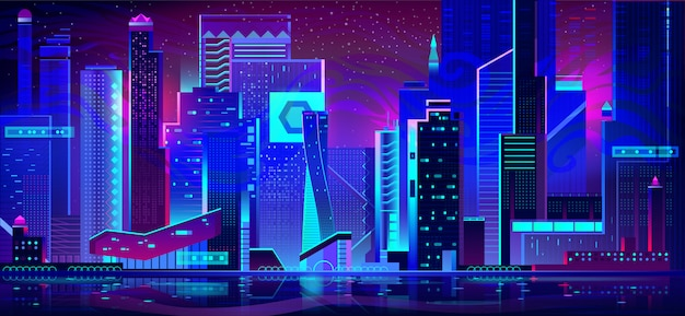 Ville de nuit dans les néons. architecture futuriste