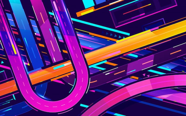 Ville de nuit futuriste. paysage urbain sur un fond sombre avec des néons violets et bleus lumineux et lumineux