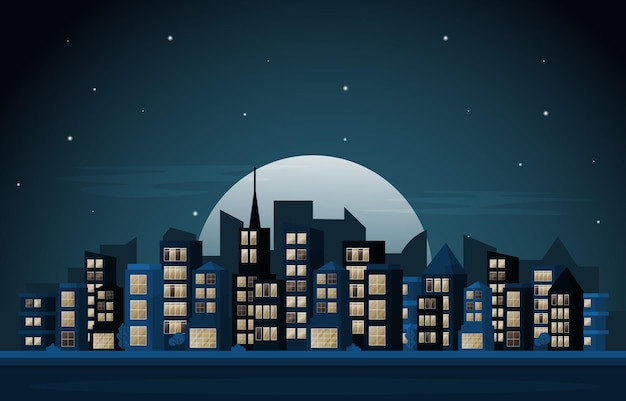 Ville nuit gratte-ciel urbain bâtiment vue paysage urbain illustration design plat
