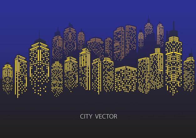 Ville de nuit paysage urbain. silhouette de la ville bleue.