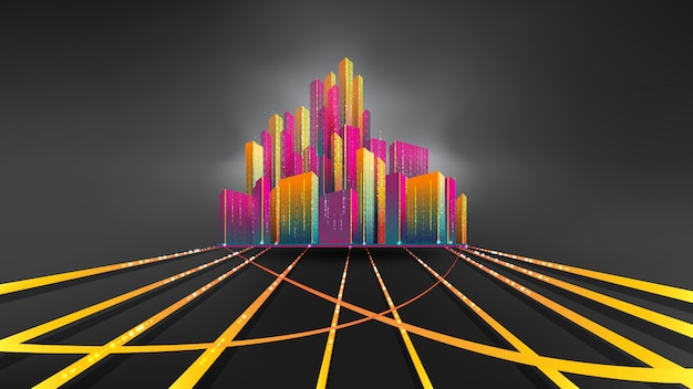 Ville la nuit. smart city, communication, réseau, connexion