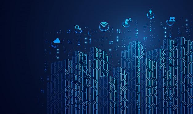 Ville numérique, bâtiments à motifs électroniques