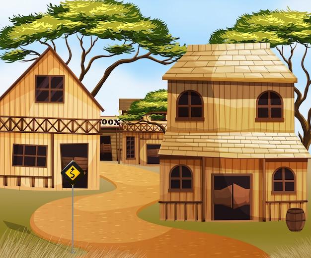 Ville de l'ouest avec des bâtiments en bois