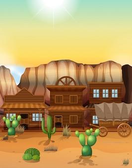 Ville de l'ouest avec des bâtiments et wagon