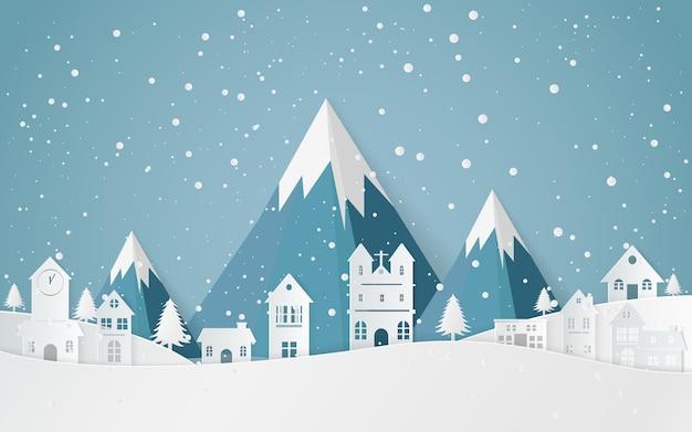 Ville de paysage de neige d'hiver, bonne année et joyeux noël, art du papier et style.