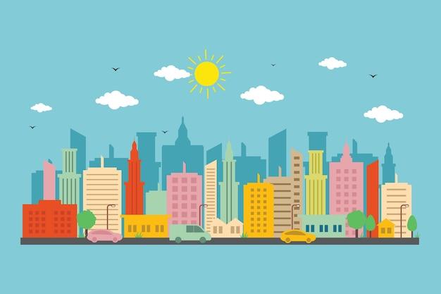 Ville paysage urbain horizon paysage bâtiment rue design illustration