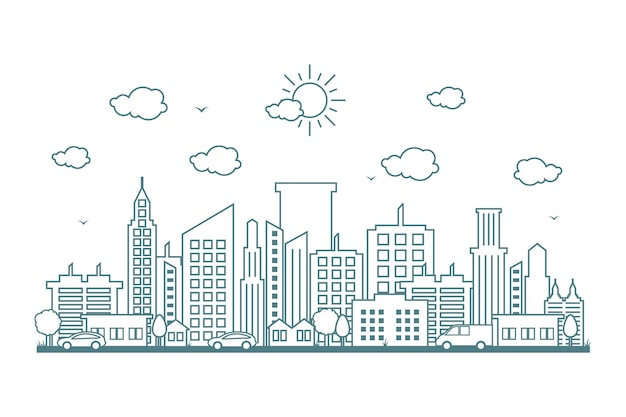 Ville paysage urbain horizon rue route ligne design illustration