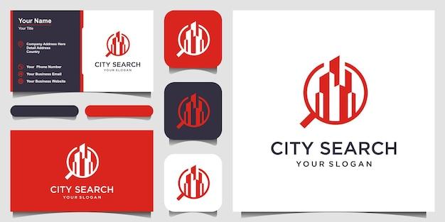 Ville recherche ville dans un modèle de logo de loupe gratte-ciels et conception de vecteur de loupe