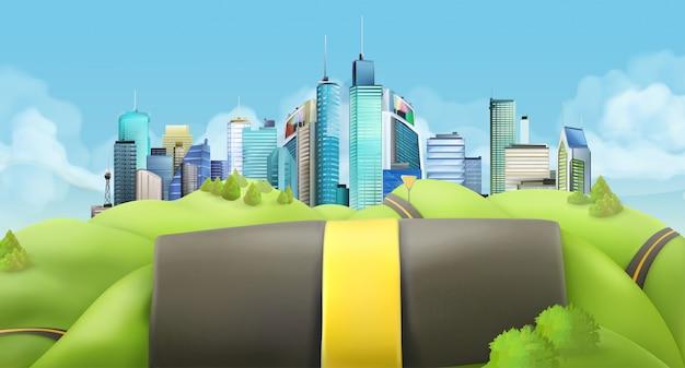 Ville et route, paysage