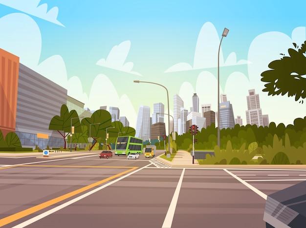 Ville rue gratte-ciel bâtiments vue de la route paysage urbain moderne centre-ville de singapour