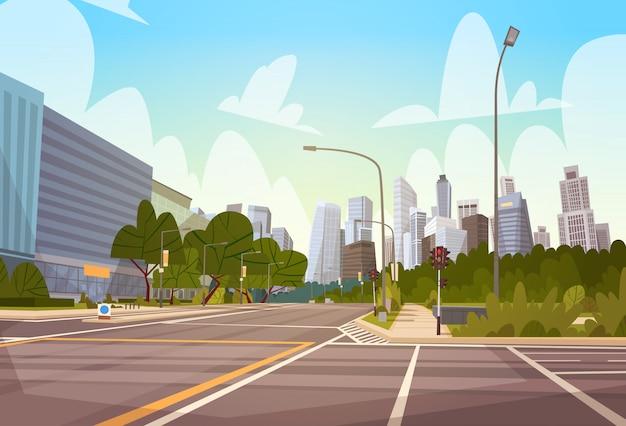 Ville rue gratte-ciel bâtiments vue sur la ville moderne paysage urbain vide centre-ville